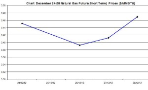 Natural Gas price  chart -  December 24-28  2012