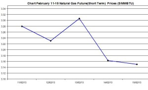 Natural Gas price  chart -  February 11-15  2013