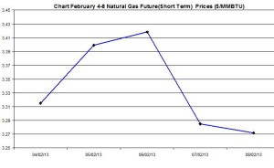 Natural Gas price  chart -  February 4-8  2013