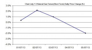 Natural Gas chart - percent change  July 1-5  2013