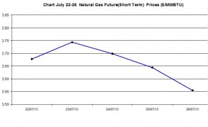 Natural Gas price  chart -  July 22-26 2013
