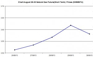 Natural Gas price  chart -  August 26-30  2013