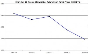 Natural Gas price  chart -  July 29- August 2  2013