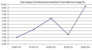 Natural Gas chart - percent change January 20-24 2014