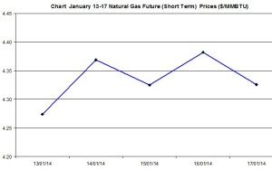 Natural Gas price  chart -January 13-17 2014